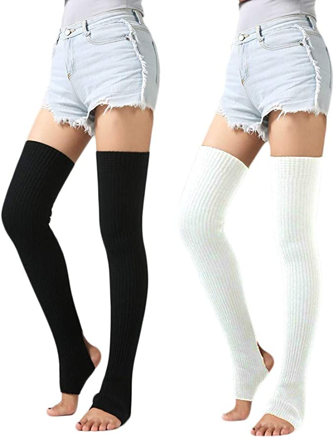 Romastory Womens Over Knee Leg Warmers Winter Elastic Socks Cotton Stockings Tights