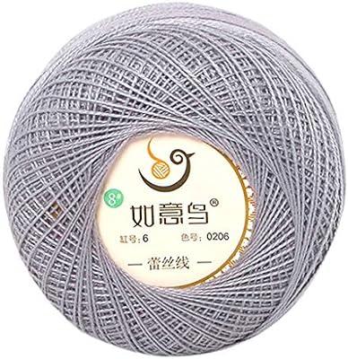 KINTRADE 50g Hilo Fino de Encaje de algodón DIY Hilo de Color Caramelo Crochet Hilo de Seda Tejido a Mano: Amazon.es: Hogar