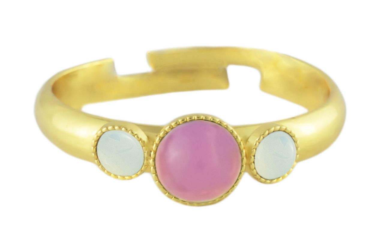24K Gold Plated Minimalist Ring Adjustable Universal Size Round Trio oOo Opal Pink Czech Glass Stone White Moonstone Handmade BohemStyle