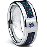 8MM Tungsten Carbide Ring BLUE SAPPHIRE .050 Carat & BLACK/ BLUE Carbon Fiber Inlay Wedding Band Size 8