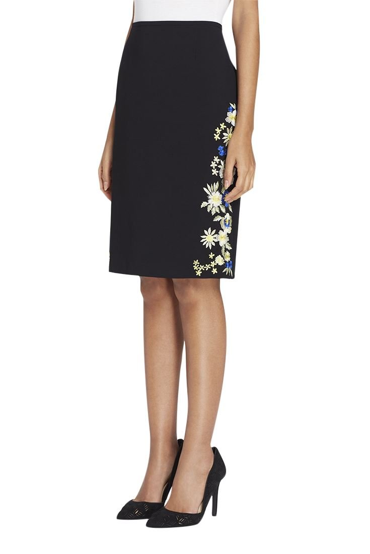 Tahari Women's Side-Embroidered Crepe Skirt - Black - 14 by Tahari