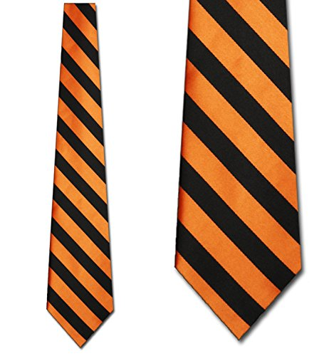 Mens College Rep Stripe Orange and Black Striped Ties (Tie Stripe Rep)