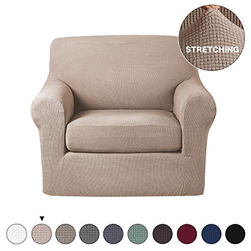 Turquoize Chair Slipcover 2 Piece Stretch Cover Jacquard Stretch Spandex Sofa Cover, One Seater Chair Slipcover Solid Color Small Checked and Machine Washable Slipcover (Chair, Khaki)
