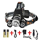 Lightess LED Headlamp Rechargeable Headlight with Cree T6 5000 Lumens RJ-3000 Head Lamp Silver