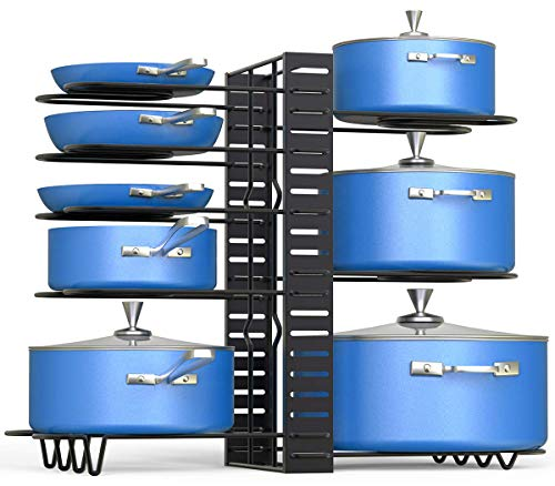 Pot Rack Organizer,3 DIY Vertical and Horizontal Methods Pot Lid Holder,Height and Position Adjustable Pots and Pans Organizer for Kitchen Countertops and Cabinets Cabinet Storage and Organization
