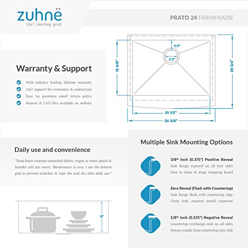 Zuhne 24 Inch Farmhouse Apron Deep Single Bowl 16 Gauge Stainless Steel Luxury Kitchen Sink by Zuhne (Image #5)