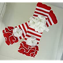 Red and White Leggings, USA 1-3 yrs, Cake Smash Outfit, Girl's 1st Birthday, Leg Warmers, Headband & Necklace. Kids Fashions.