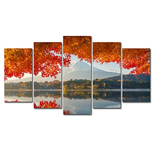 Fuji Photo Prints - Horgan Art 5 Panels Canvas Painting Wall Art Autumn Mount Fuji Japan Picture Prints on Canvas Modern Landscape Unframed Artwork for Living Room Bedroom Home Decor (No Frame)