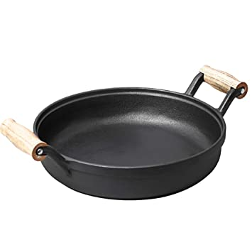 Olla de hierro fundido Sartén Pancakes Steak Doble oreja - Sin revestimiento Pancake Pan antiadherente Pura Artificial Inducción Cocina Estufa de gas Mango ...