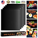 Grill Mat Non-stick BBQ Grilling Mats Set of 5,Heavy Duty,Reusable,Easy to Clean Cooking Tools for Charcoal, Electric,Weber and Gas,FDA-Approved