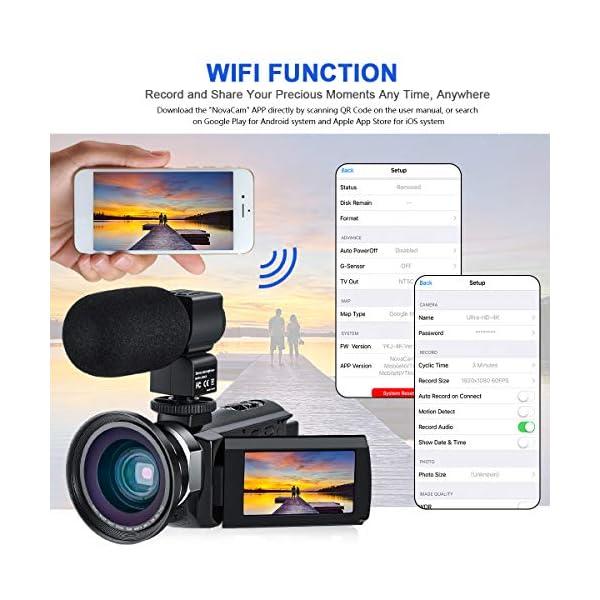 """Videocamera 4K, CofunKool WiFi Ultra Alta Definizione 48MP Digitale Videocamera, Sensore CMOS, IR Visione Notturna, 3.0"""" IPS Schermo, con Microfono e Obiettivo Grandangolare 2 spesavip"""