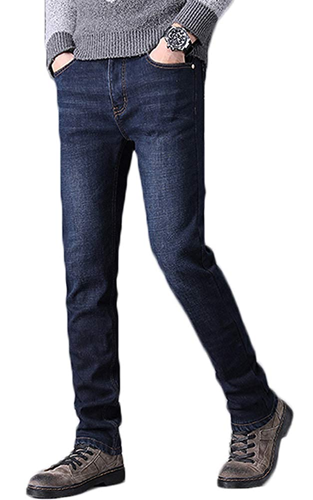 AvaCostume Mens Comfort Stretch Fleece Lined Straight Leg Jeans