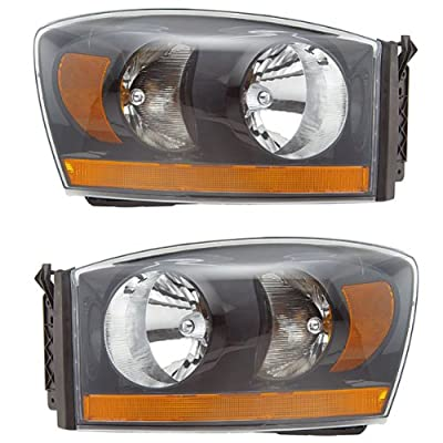2006 06 Dodge Ram Truck Black Headlight Headlamp Pair