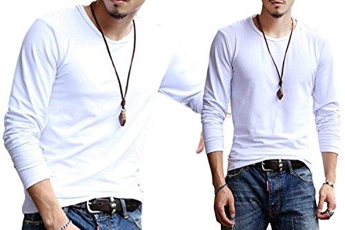 スイスロベニアバケット【 どう着ても キマる 】[エムシービーエム] メンズ Tシャツ 2枚セット 長袖 ロンT ロングTシャツ 肌着 七分 丈 袖 インナー シャツ 部屋着 無地 カットソー クルーネック Vネック Uネック ラウンドネック 黒 白 2枚セット カジュアル