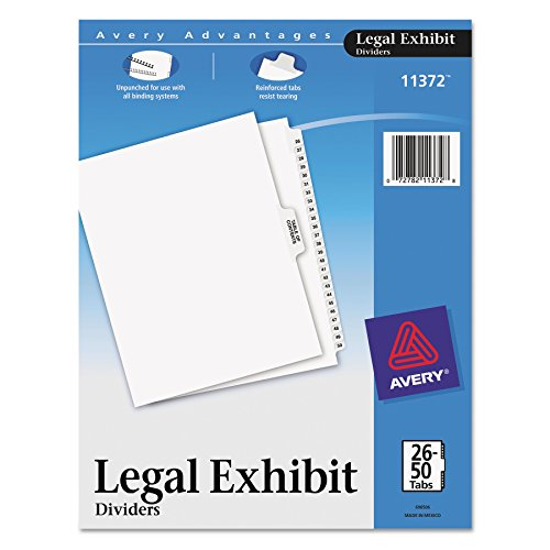 Avery Premium Collated Legal Exhibit Divider Set, Avery Style, 26-50 and Table of Contents, Side Tab, 8.5 x 11 Inches, 1 Set (11372), White ()