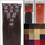 Straight Remy Clip In Human Hair Extensions 24 Colors for Your Choose in 15inch ,18inch ,20inch ,22inch ,Beauty Salon Women's Accessories (18'' 7pcs 70g with clips, #02 dark brown)