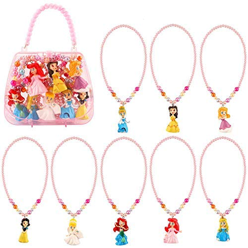 8 Pack Princess Dress up Accessories Costume Necklace Kit Activity Gift Set Toys for Girls Princess Snow White Cinderella Ariel Belle Aurora Party Favors -