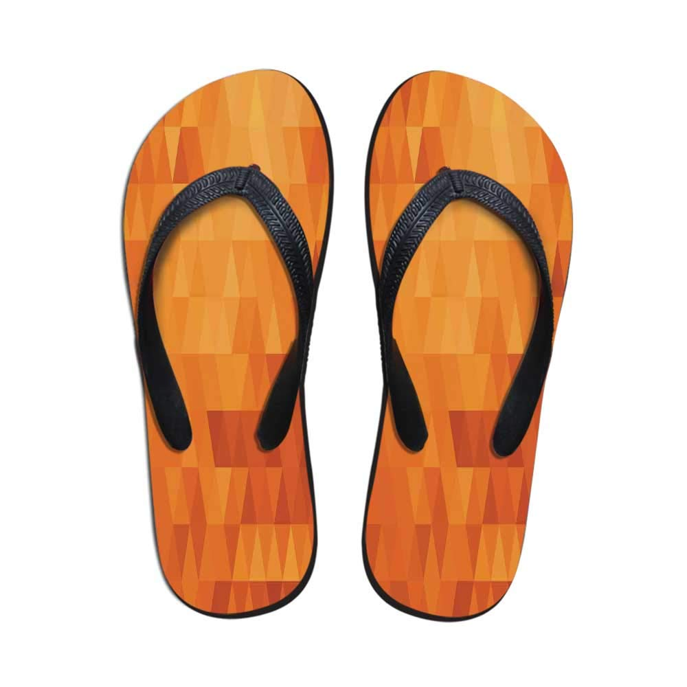 TecBillion Burnt Orange Comfortable Flip Flops,Contemporary Motley Stained Distressed Tropic Beach with Palms Graphic for Pool Garden,US Size 5