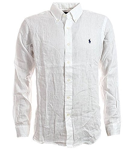Polo Ralph Lauren Men's Long Sleeve Linen Sport Shirt, White, ()