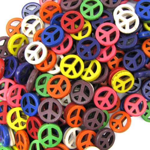 ShopForAllYou Design Making 15mm Multicolor Turquoise Peace Sign Coin Beads 16
