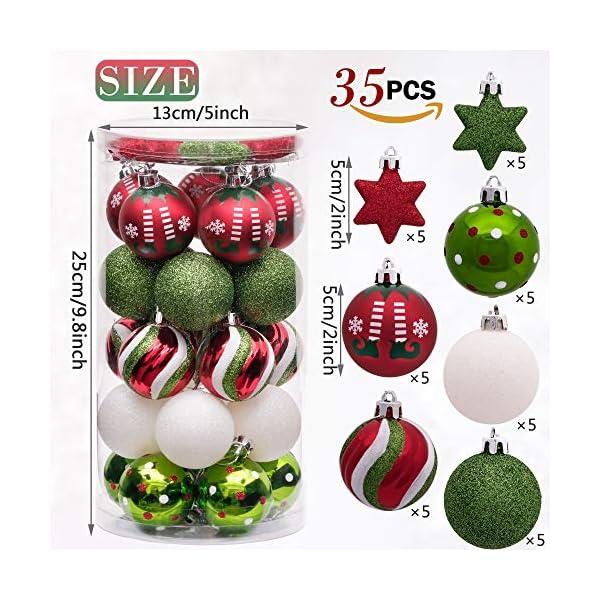 Victor's Workshop Addobbi Natalizi 35 Pezzi 5cm Palle di Natale per Albero, Delizioso Elfo Rosso Verde e Bianco Infrangibile Palla di Natale Ornamenti Decorazione 2 spesavip