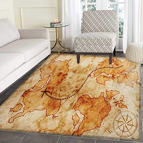 """Island Map Door Mat Indoors Authentic Distressed Grunge World Map Wind Rose Compass Pattern Treasure Map Picture Customize Bath Mat Non Slip Backing 24""""x36"""" Cream"""
