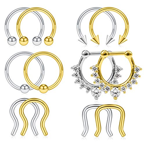 SCERRING 12PCS 16G 316L Stainless Steel Septum Hoop Nose Ring Horseshoe Rings Cartilage Daith Tragus Clicker Retainer Body Piercing Jewelry Silver and Gold ()