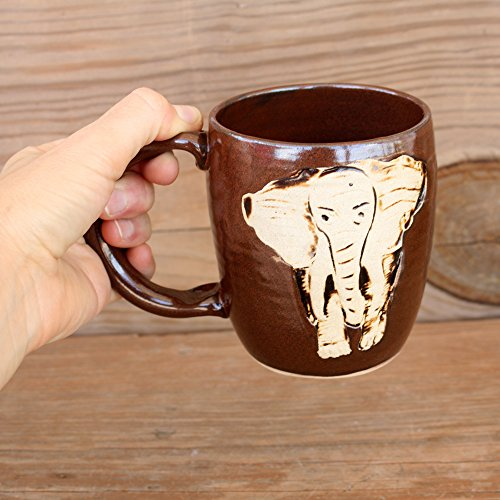 Elephant Stamped Pottery Mug. Medium 12 – 16 Ounce Handmade Stoneware Clay Coffee Cup. Brick Red Brown. Alabama Elephant
