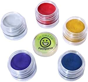 Go Green Face Paint - 5 Color Certified Organic Kit for Kids - The Safest Set for Skin Type - Resealable and Reusable - Great for Halloween - 36 Month Shelf Life