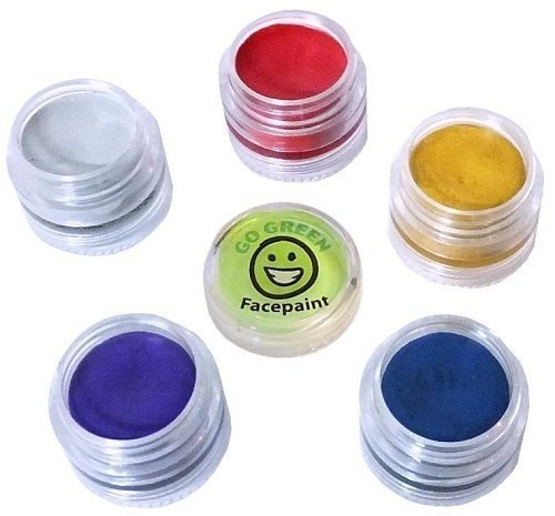 [Go Green Face Paint - Easy Face Paint Ideas - Cosmetic Grade Entertainment Children - Simple Kit for Paint Party - Works Well with Brushes, Sponges or Stencils - Best for Dress Up or Summer] (Body Paint Costumes For Halloween)
