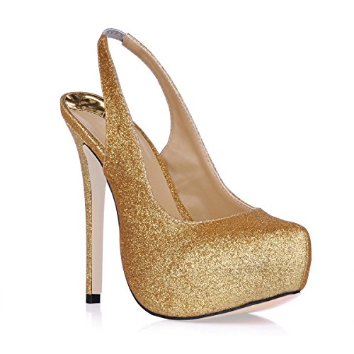 Best 4U® Sandalias de mujer Stiletto suela de caucho punta redonda 10CM de tacón alto verano primavera color sólido Bling Shoes Slingback Golden
