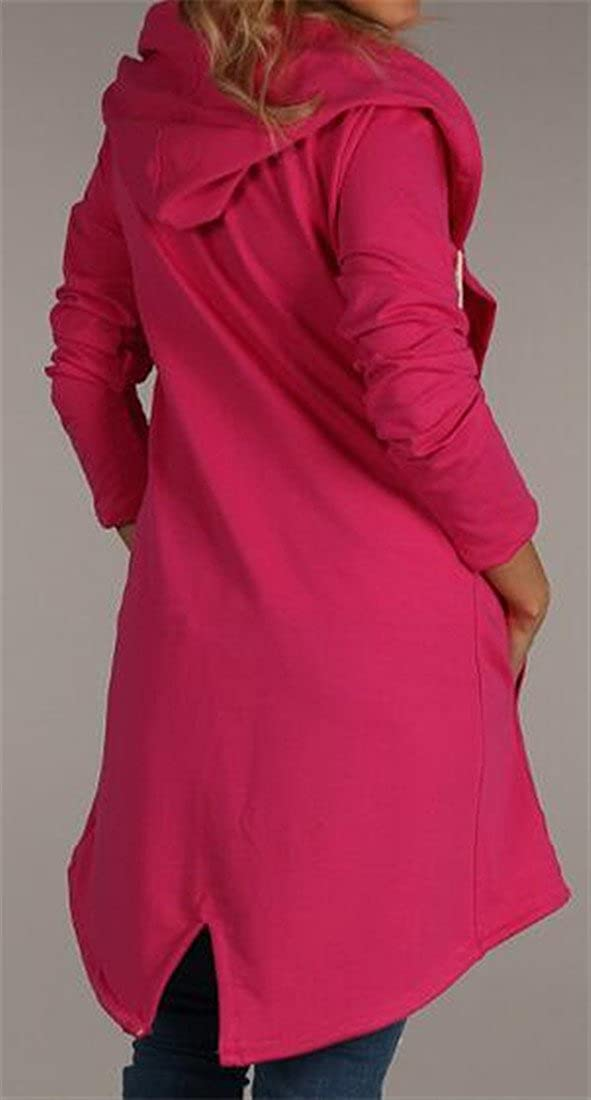 XTX Womens Casual Solid Open-Front Hooded Strings Irregular Cardigan Rose Red Small