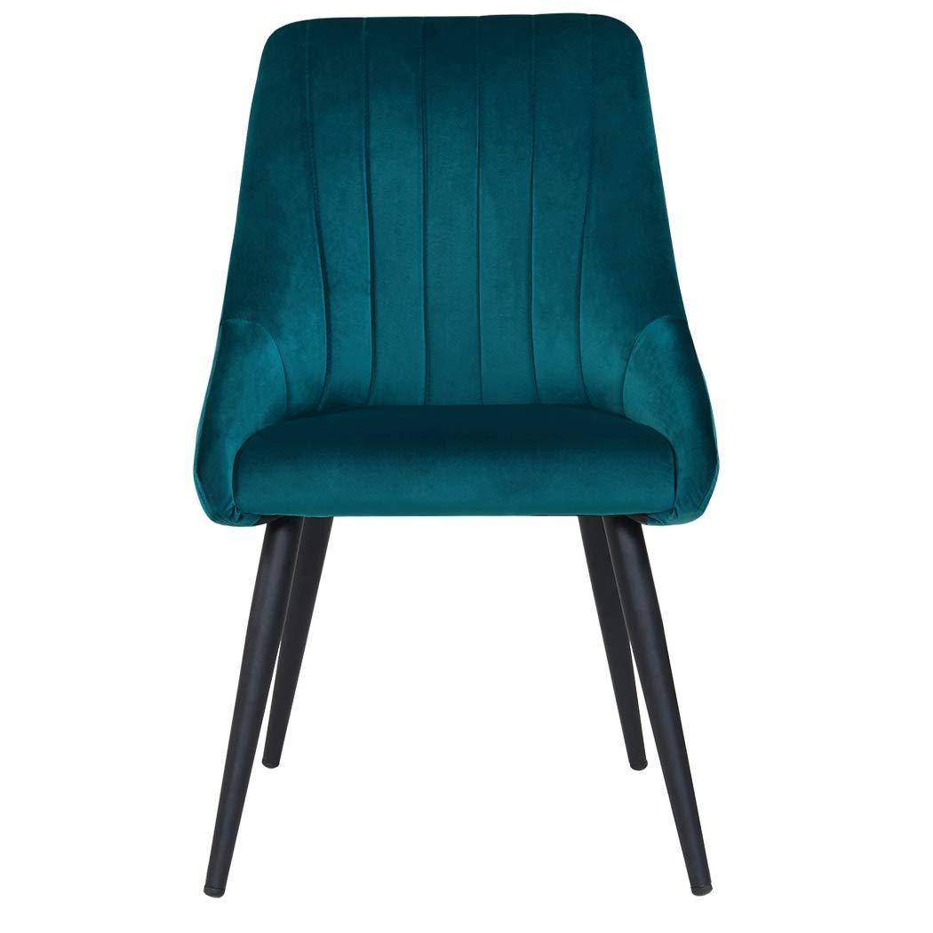 Duhome 2X Chaise Salle à Manger en Tissu Bleu Chaise rembourrée Design Retro avec Pieds en métal sélection de Couleur 8066 Velours
