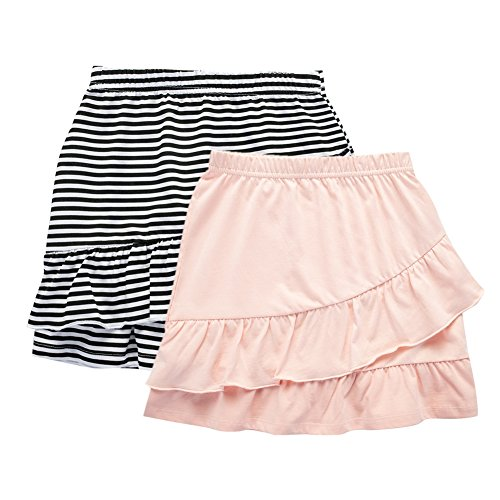 UNACOO 2 Packs Cotton Tiered Ruffle Skirt with Elastic Waistband for Girls(Balck/White Stripe+Pink, xs(3-4T)) Cotton Girls Short Skirt