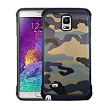 Galaxy Note 4 Samsung Premium Dual Layer Camouflafe Case By GTRADE Shockproof Rubber & Plastic Reinforced Phone Cover Military Camo Pattern Green, Brown & Navy Color Available - (Navy)
