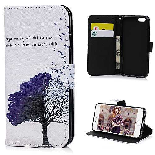 iPhone 6 Case (4.7 inch),YOKIRIN Premium PU Leather Wallet Case Cover Pouch [Magnetic Closure] with Card Slots,Kickstand,Credit Card Holder,Book Style Flip Wallet Case for iPhone 6 6S,Tree & Birds ()