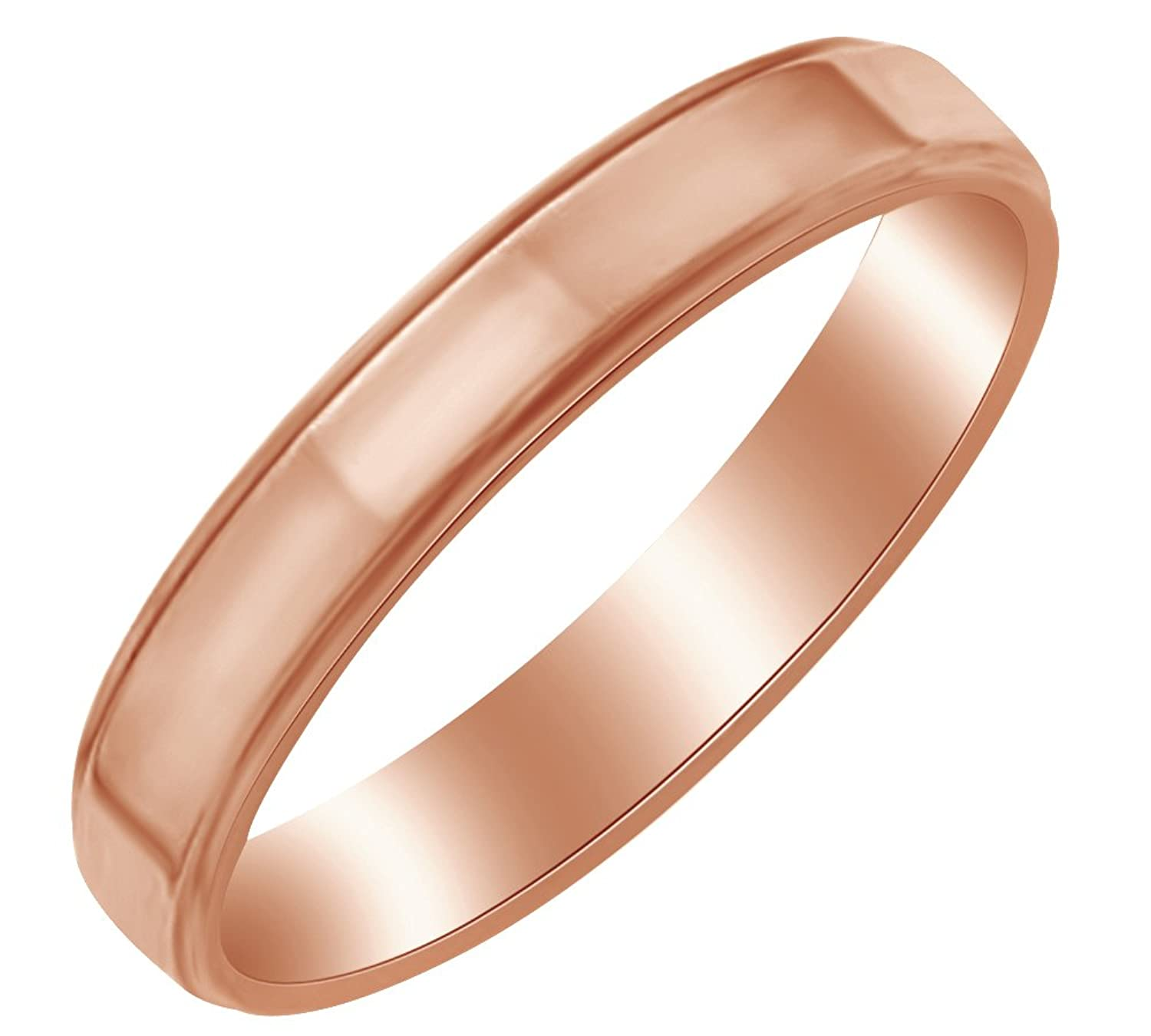 AFFY 4MM Flat With Step Edge Band Ring in 10k Solid Gold
