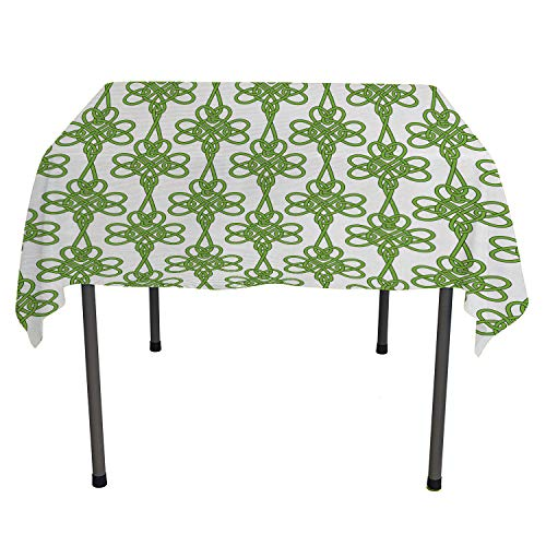 Celtic Jacquard Tablecloth St. Patricks Day Theme Celtic Knots Lucky Clover Design Pattern Irish Theme Print Waterproof Table Cloth Green White Square Tablecloth 54 by 54 inch]()