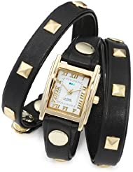 La Mer Collections Womens LMLW1010A Gold-Tone Watch with Black Leather Wrap-Around Band