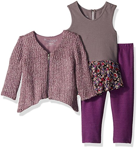 PIPPA & JULIE Baby Girls' Top, Leggings & Sweater 3-Piece Outfit, Purple Multi, 12 Months ()