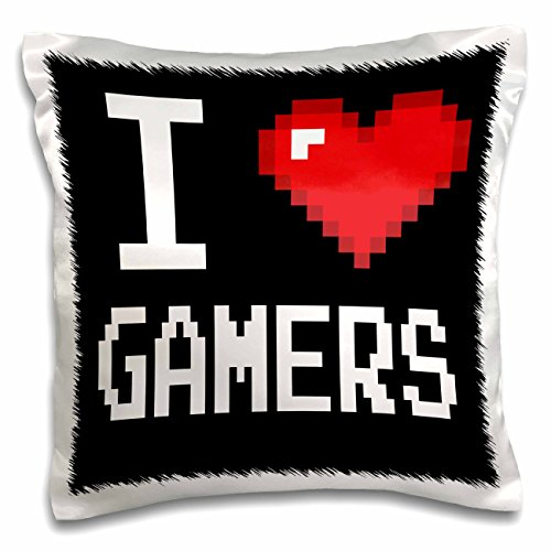 3dRose pc_118893_1 Geeky Old School Pixelated Pixels 8-Bit I Heart I Love Gamers-Pillow Case, 16 by - 8bit Gamer