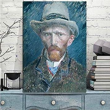 HGlSG Resumen Vincent Van Gogh Retrato Pintura al óleo sobre Lienzo Arte HD Impresiones y póster Artista Moderno Home Mural Decorativo A1 50x70cm