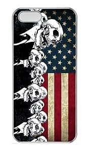 IMARTCASE iPhone 5S Case, Skulls Suit Grunge Artwork American Flag PC Hard Case Cover for Apple iPhone 5S Transparent