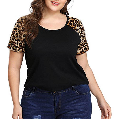 Plus Size Leopard Patchwork Short Sleeve Women Blouse Tops Ladies Clothes T Shirt Black