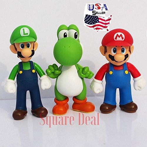Kids Toy - Action Figure Toy- 5 Inch 3pcs Nintendo Super Mario Bros Luigi Mario Yoshi Action Figures Toys Lovely Doll - Best Gift for Kids