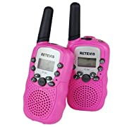 Amazon Lightning Deal 88% claimed: Retevis RT-388 Kids Walkie Talkies UHF 462.5625-467.7250MHz VOX 22CH Portable FRS/GMRS Two Way Radio with Flashlight (Pink,2 Pack)