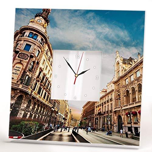 Madrid Wall Clock Mirror Framed Spain Street View Travel Printed Fan Art Home Room Decor Cool Gift by WonderCloud