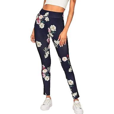 VJGOAL Pantalones de Yoga Flor Malla Impresa Empalme Empire ...