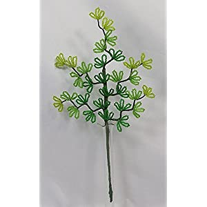 French Beaded Variegated Small Fern Stem Leaves 114
