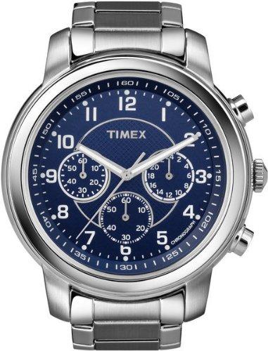 Timex Men's T2N165 Premium Chronograph Silver-Tone Stainless Steel Bracelet Blue Dial Watch
